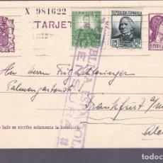 Sellos: F3-31- ENTERO POSTAL BARCELONA?-ALEMANIA 1937?. CENSURA Y FRANQUEO COMPLEMENTARIO . Lote 165788602