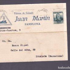 Sellos: F3-42- TARJETA POSTAL ILUSTRADA FÁBRICA DE CALZADOS PAMPLONA 1935. Lote 165800162