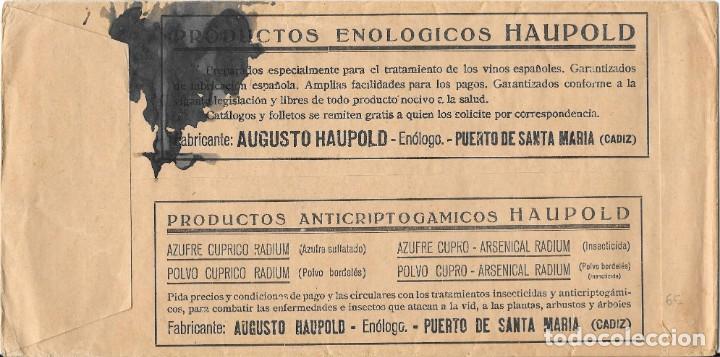 Sellos: II REPUBLICA. SOBRE DE PRENSA LA VINICULTURA ESPAÑOLA. EDIFIL 677 . DE MADRID A JEREZ. - Foto 2 - 166702646