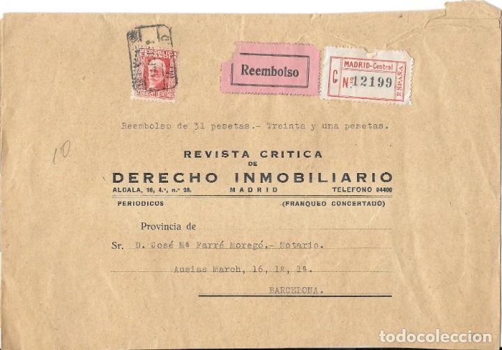 II REPUBLICA. SOBRE REVISTA CRITICA DE DERECHO INMOBILIARIO. DE MADRID A BARCELONA. 1932 (Sellos - España - II República de 1.931 a 1.939 - Cartas)