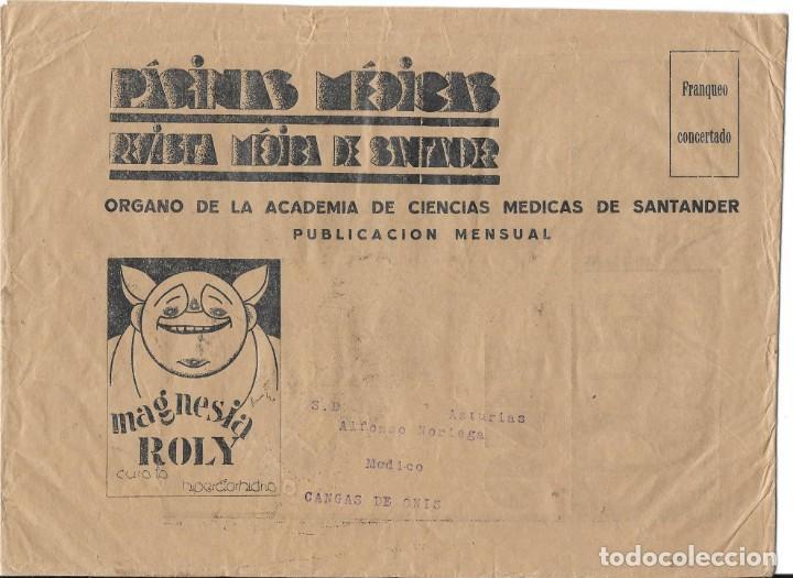 II REPUBLICA. SOBRE DE REVISTA PAGINAS MEDICAS. DE SANTANDER A CANGAS. (Sellos - España - II República de 1.931 a 1.939 - Cartas)