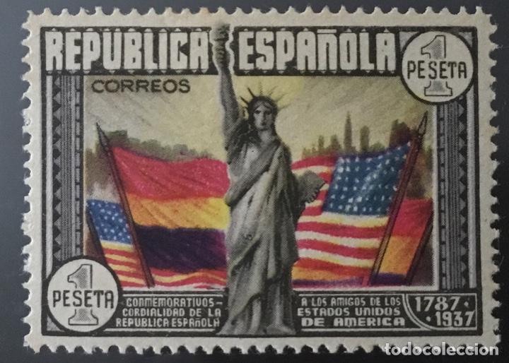 1938-ESPAÑA EDIFIL 763 CL ANIVERSARIO CONSTITUCIÓN EEUU MH* NUEVO CON GOMA ORIGINAL (Sellos - España - II República de 1.931 a 1.939 - Nuevos)