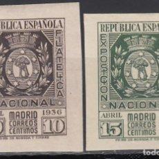 Sellos: ESPAÑA, 1936 EDIFIL Nº 727 / 728, /**/, EXPOSICIÓN FILATELICA DE MADRID, SIN FIJASELLOS. . Lote 166830170