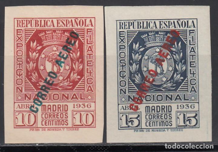 ESPAÑA, 1936 EDIFIL Nº 729 / 730, /**/, EXPOSICIÓN FILATELICA DE MADRID, SIN FIJASELLOS. (Sellos - España - II República de 1.931 a 1.939 - Nuevos)