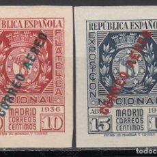 Sellos: ESPAÑA, 1936 EDIFIL Nº 729 / 730, /**/, EXPOSICIÓN FILATELICA DE MADRID, SIN FIJASELLOS. . Lote 166830650