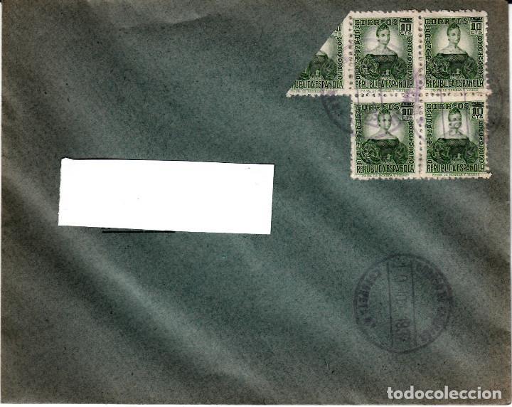 GUERRA CIVIL CARTA CON MATASELLOS DE CORREO DE CAMPAÑA - TURIA - 10 NOV -37 - CON BISECTADOS (Sellos - España - II República de 1.931 a 1.939 - Cartas)