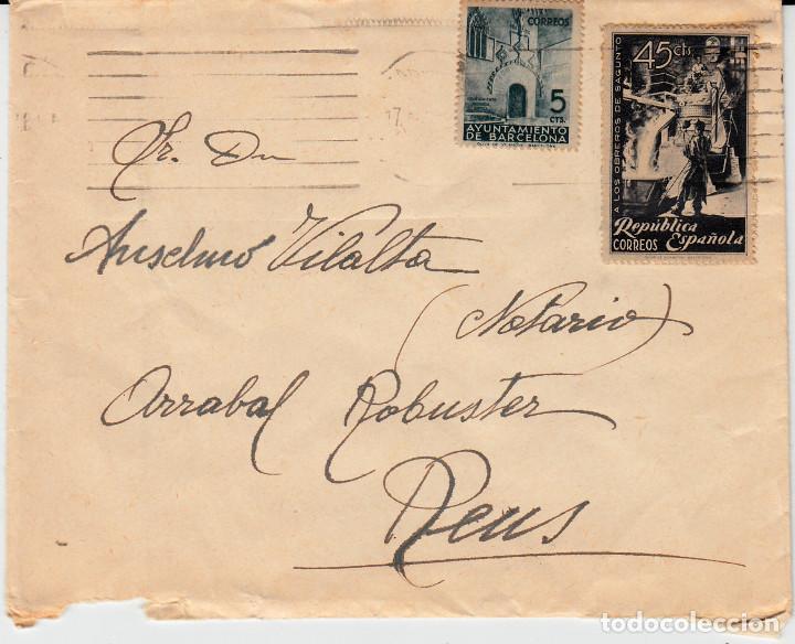 CARTA REPÚBLICA ESPAÑOLA CON SELLO NUM 773 Y AYUNTAMIENTO DE BARCELONA (Sellos - España - II República de 1.931 a 1.939 - Cartas)