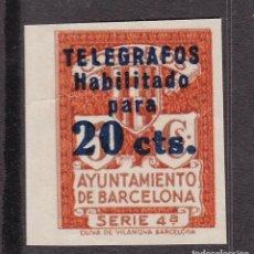 Sellos: RR21- AYUNTAMIENTO BARCELONA TELEGRÁFOS EDIFIL 11S. SIN DENTAR (*). Lote 167057104