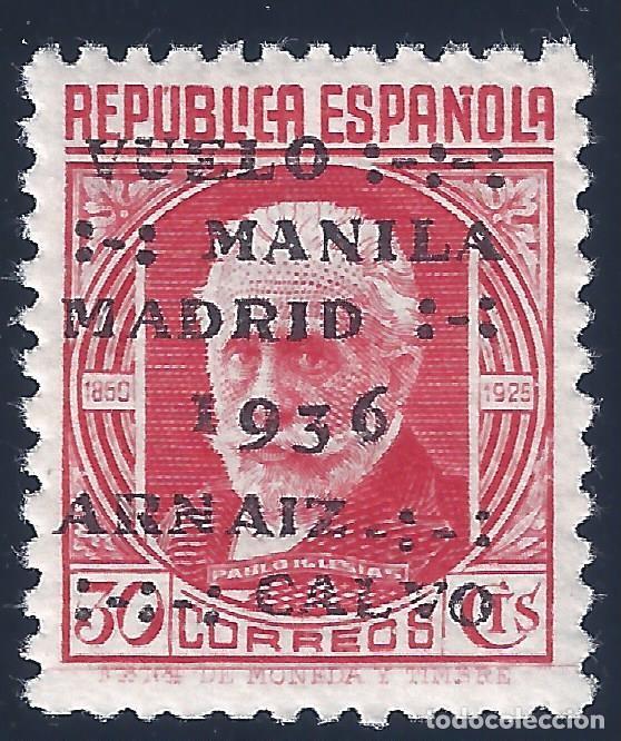 EDIFIL 741 VUELO MANILA-MADRID 1936. CENTRADO DE LUJO. MLH. (Sellos - España - II República de 1.931 a 1.939 - Nuevos)
