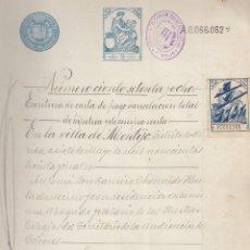 Sellos: 1934 MONTIJO (BADAJOZ) SELLO FISCAL 3º 37,50 PTS PEGADA POLIZA 3ª DE 37,50 PTS DOCUMENTO MANUSCRITO. Lote 167735856