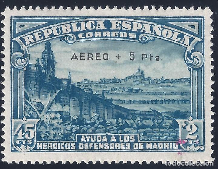 EDIFIL 759 DEFENSA DE MADRID 1938. SOBRECARGA AUTÉNTICA. CENTRADO DE LUJO. MLH. (Sellos - España - II República de 1.931 a 1.939 - Nuevos)