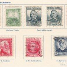 Sellos: ESPAÑA. 8 SELLOS DE 1935-36. USADOS CON FIJASELLOS.. Lote 168220864