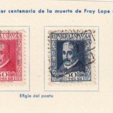 Sellos: ESPAÑA. 4 SELLOS DE 1935. USADOS CON FIJASELLOS.. Lote 168220952