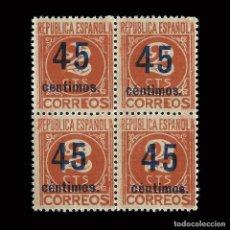 Sellos: SELLOS. ESPAÑA. II REPÚBLICA. 1938. CIFRAS HABILITADAS. 45C S 2C .BLOQUE 4.NUEVO**. EDIFIL. 744. Lote 169201364