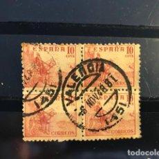 Sellos: SELLOS ESPAÑA CID 1949 EDIFIL 1045 CON MATASELLOS EN BLOQUE DE 4. Lote 169233924