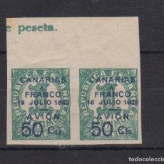 Sellos: 1937 CANARIAS EDIFIL 11S PAREJA MARQUILLADA VC 40€. Lote 169279280