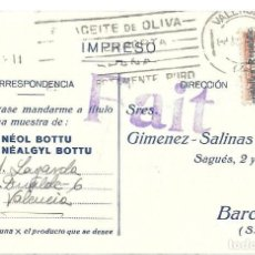 Sellos: EDIFIL 593. IMPRESO CIRCULADO DE VALENCIA BARCELONA. . Lote 169823928