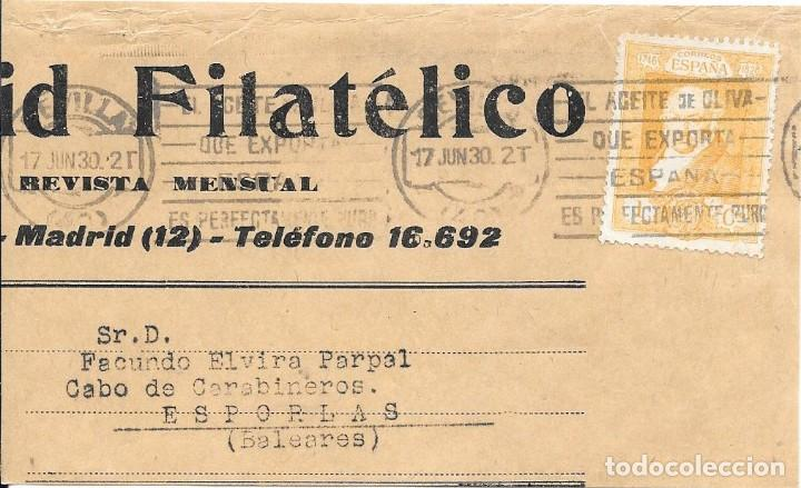 EDIFIL 499. FRAGMENTO DE MADRID FILATELICO CIRCULADO DE SEVILLA A ESPORLAS - BALEARES. (Sellos - España - II República de 1.931 a 1.939 - Cartas)