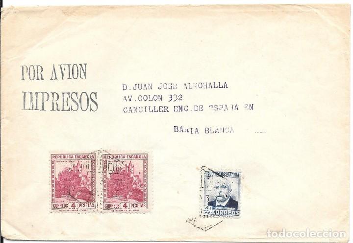 EDIFIL 670 - 674. SOBRE CIRCULADO A BAHIA BLANCA - BRASIL. (Sellos - España - II República de 1.931 a 1.939 - Cartas)