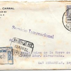 Sellos: MEJICO. SOBRE CIRCULADO DE MEXICO DF A SAN SEBASTIAN. 1933. Lote 169831448