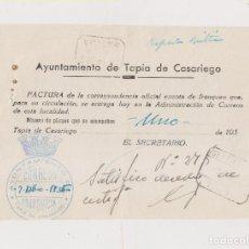Sellos: RARA FACTURA DE CORRESPONDENCIA. FRANQUICIA TAPIA DE CASARIEGO. ASTURIAS. CERTIFICADO. 1936.. Lote 169909068