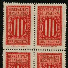 Sellos: GENERALITAT DE CATALUNYA 193? 1 PESETA BLQ. 4. Lote 170147376