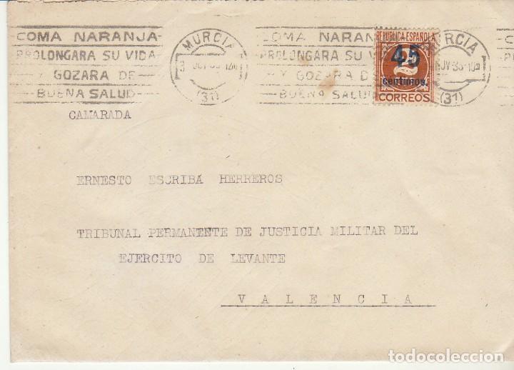MILITAR: MURCIA A VALENCIA. 1935. (Sellos - España - II República de 1.931 a 1.939 - Cartas)