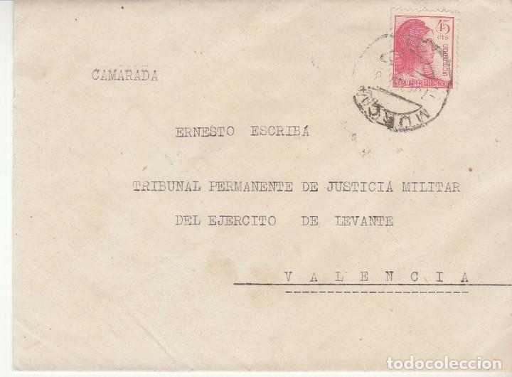 MILITAR : MURCIA A VALENCIA . 1938. (Sellos - España - II República de 1.931 a 1.939 - Cartas)