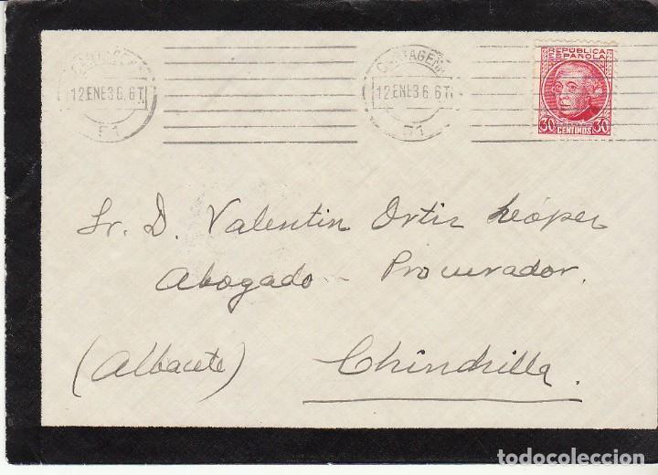 LUTO : CARTAGENA A CHINCHILLA. 1936. (Sellos - España - II República de 1.931 a 1.939 - Cartas)