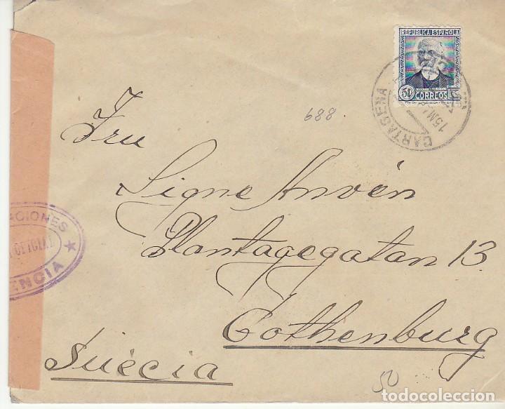 CARTAGENA A GOTHENBURG (SUECIA). (Sellos - España - II República de 1.931 a 1.939 - Cartas)