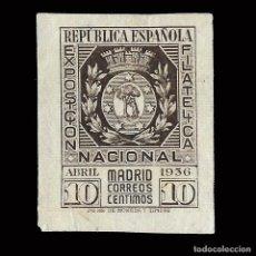 Sellos: SELLOS. ESPAÑA. II REPÚBLICA. 1936. EXPO FILATÉLICA MADRID.10C CASTAÑO. NUEVO* EDIFIL. Nº727. Lote 170922240