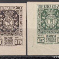 Sellos: ESPAÑA, 1936 EDIFIL Nº 727 / 728 /**/, EXPOSICIÓN FILATELIA DE MADRID, SIN FIJASELLOS. Lote 171065533