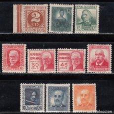 Sellos: ESPAÑA, 1936 - 1938, EDIFIL Nº 731 / 740 /**/ CIFRAS Y PERSONAJES, SIN FIJASELLOS. . Lote 171070158