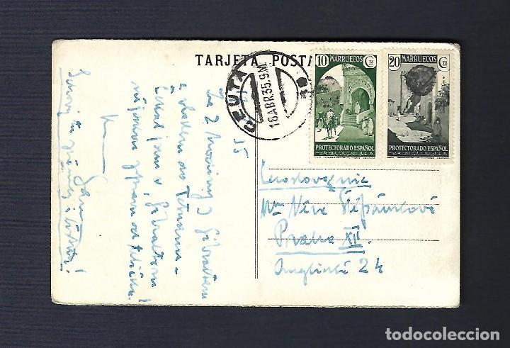 Sellos: 18 ABRIL 1935. TARJETA POSTAL CEUTA A PRAGA - Foto 2 - 171095704