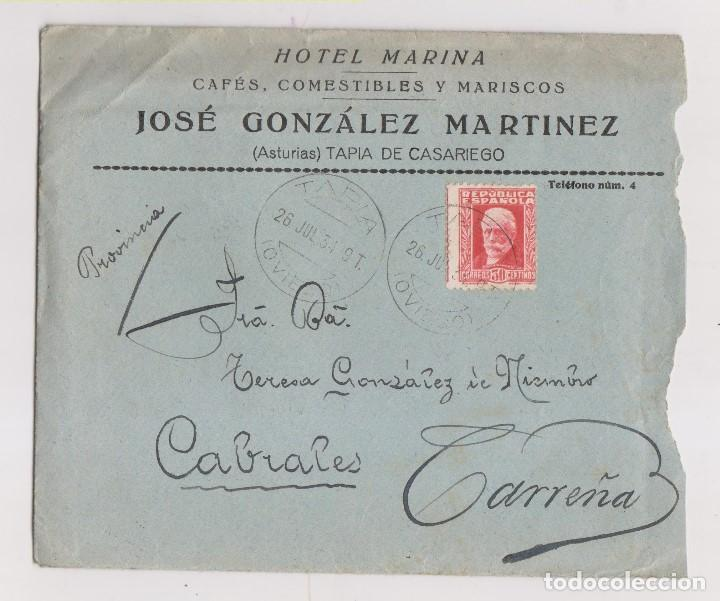 SOBRE DE TAPIA DE CASARIEGO. ASTURIAS. HOTEL MARINA. CONSERVA LA CARTA. A CARREÑA DE CABRALES. 1934 (Sellos - España - II República de 1.931 a 1.939 - Cartas)