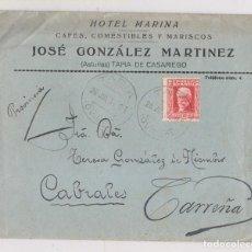 Sellos: SOBRE DE TAPIA DE CASARIEGO. ASTURIAS. HOTEL MARINA. CONSERVA LA CARTA. A CARREÑA DE CABRALES. 1934. Lote 171723834