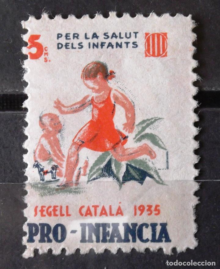 VIÑETAS, CATALUÑA, NUEVA, SIN CH., 5 CTS., PRO INFANCIA. ENGOMADO PARCIAL. AÑO 1935. (Sellos - España - II República de 1.931 a 1.939 - Nuevos)