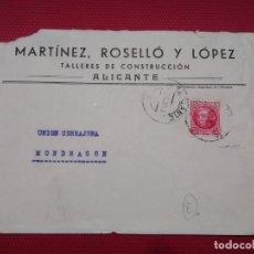 Sellos: SOBRE CIRCULADO MARTINEZ, ROSELLÓ Y LÓPEZ TALLERES DE CONSTRUCCIÓN ALICANTE.. Lote 171831232