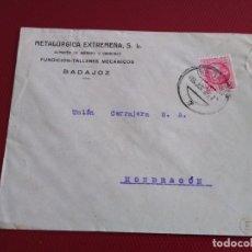 Sellos: SOBRE CIRCULADO METALÚRGICA EXTREMEÑA. FUNDICIÓN TALLERES MECÁNICOS. BADAJOZ.. Lote 171966347