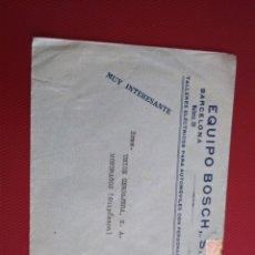 Sellos: SOBRE CIRCULADO EQUIPO BOSCH BARCELONA TALLERES ELÉCTRICOS PARA AUTOMÓVILES.. Lote 171970208