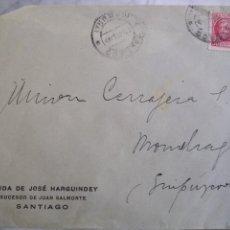 Sellos: SOBRE CIRCULADO VIUDA DE JOSÉ HARGUINDEY SUCESOR DE JUAN SALMONTE. SANTIAGO. Lote 172078734