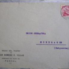 Sellos: SOBRE CIRCULADO BAZAR DEL TEATRO DE JUAN ROMERO R. VILLAR. FERROL. Lote 172079173
