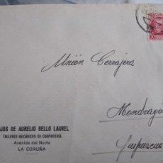 Sellos: SOBRE CIRCULADO HIJOS DE AURELIO BELLO LAUREL TALLERES MECÁNICOS. LA CORUÑA. Lote 172087100