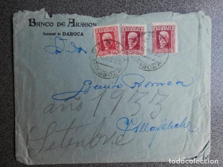 FECHADOR DAROCA ZARAGOZA EN SOBRE AÑO 1933 MEMBRETE BANCO ARAGÓN (Sellos - España - II República de 1.931 a 1.939 - Cartas)