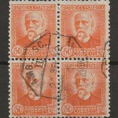 Sellos: R7/ ESPAÑA 1931-32, EDIFIL 661, MB, BLOQUE DE 4, CATALOGO 76,00€, MATASELLADO. Lote 172582062