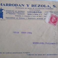 Francobolli: SOBRE BODEGAS PUBLICIDAD MARRODAN Y REZOLA S. L. SUCESORES DE HIJOS DE SALUSTIANO MARRODÁN LOGROÑO. Lote 173502298