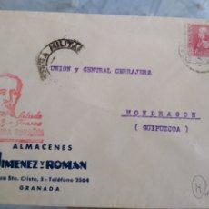 Sellos: SOBRE SALUDO A FRANCO ARRIBA ESPAÑA ALMACENES JIMENEZ Y ROMÁN GRANADA. CENSURA MILITAR.. Lote 173503497
