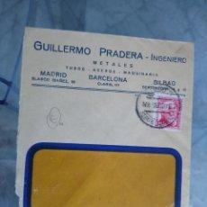 Sellos: SOBRE GUILLERMO PRADRERA INGENIERO. METALES, TUBOS, ACEROS. MADRID BILBAO.. Lote 173646248