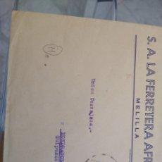 Sellos: SOBRE S. A. LA FERRETERA AFRICANA. MELILLA. REPÚBLICA.. Lote 173647562