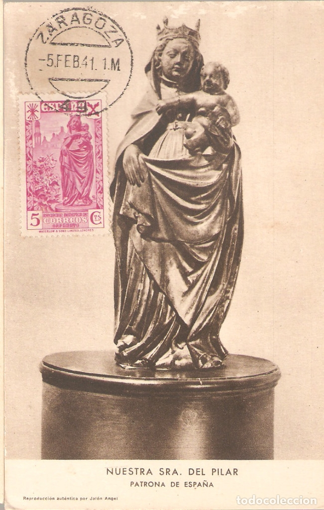 TARJETA POSTAL DE LA VIRGEN DE PILAR CON SELLO DE BENEFICENCIA 21 DE IDÉNTICO MOTIVO. (Sellos - España - II República de 1.931 a 1.939 - Cartas)